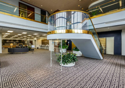 Newly renovated foyer leading to office spaces.