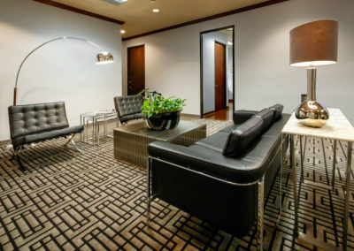 Large open seating spaces and waiting room for office spaces.