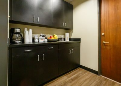 Fully stocked break rooms near each conference area